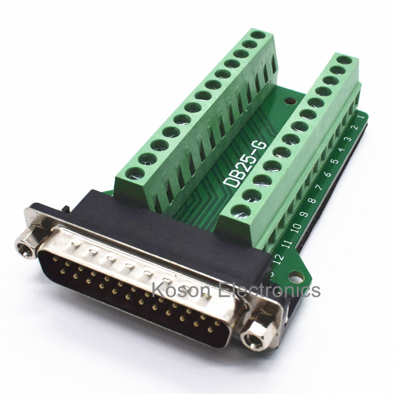 DB25 D-SUB Male 25Pin Plug Breakout PCB Board 2 Row Terminals Connectors n102a0 5242pc d sub micro d connectors 100p r a shld recept mr li