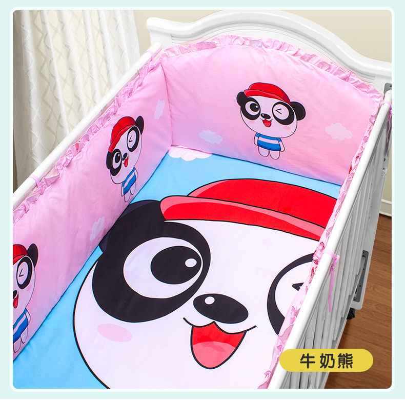 Promotion! 5PCS baby cotton crib bedding set for boys Applique bumper bed around (4bumper+sheet)
