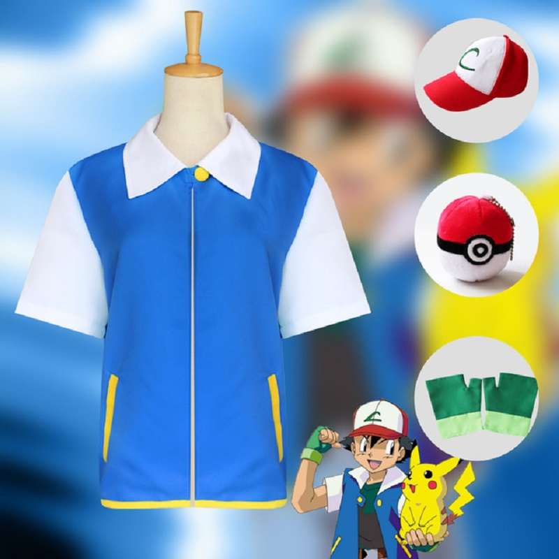 Anime Pokemon Cosplay Ash Ketchum Cosplay Costume Blue Jacket Hat Gloves Poke Ball Full Set Halloween Costumes