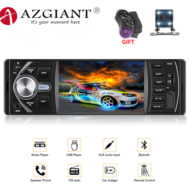 AZGIANT 4inch High Resolution Screen Digital Car Radio Bluetooth 2.0 Hand Free Call Support Rear View Camera FM Remote Control image