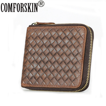 COMFORSKIN Brand Guaranteed Crazy Horse Genuine Leather Retro Zipper Men Coin Purses 2018 Hot Casual Wallets