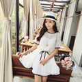 Summer maternity clothes Fashion lace hollow out the dress Pure color falbala pregnant women dress Two-piece send belt