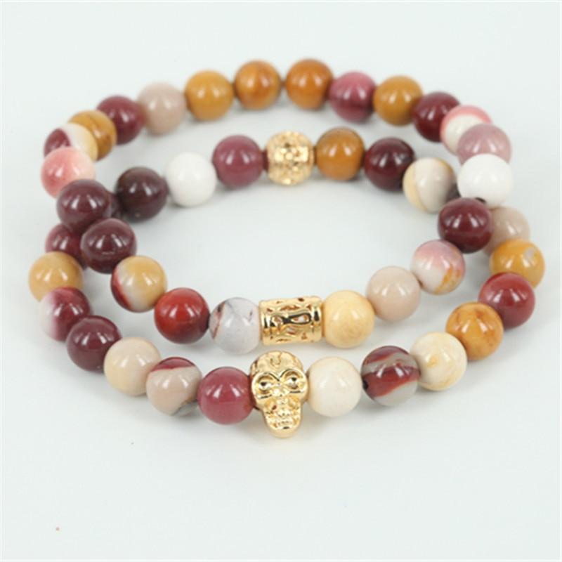 2pcs New arrival natural egg yellow round stone beads men bracelet beaded skull head women bracelet fine jewelry as a gift