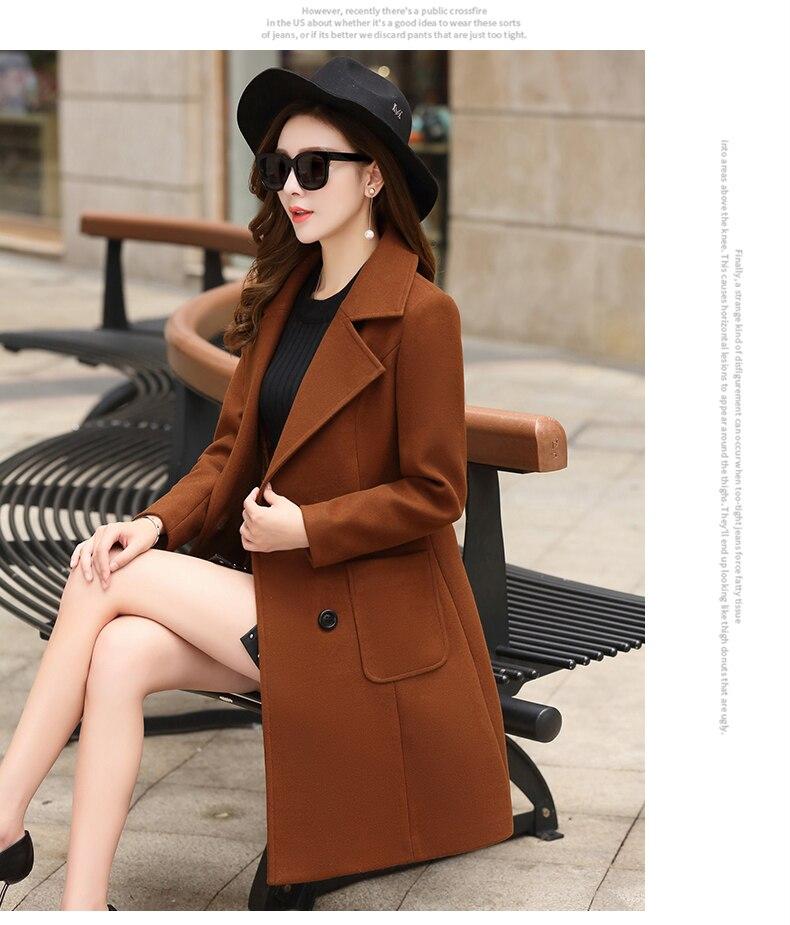 Outerwear Overcoat Autumn Jacket Casual Women New Fashion Long Woolen Coat Single Breasted Slim Type Female Winter Wool Coats 4