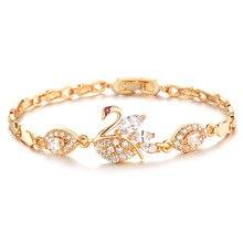 Fashion Swan Women Bracelets Classical 18K Gold Plated Cubic Zircon Link Chain Jewelry Bracelet lbjie fashion jewelry gold color plated aaa cubic zirconia bracelet women elegant chain link adjustable bracelets
