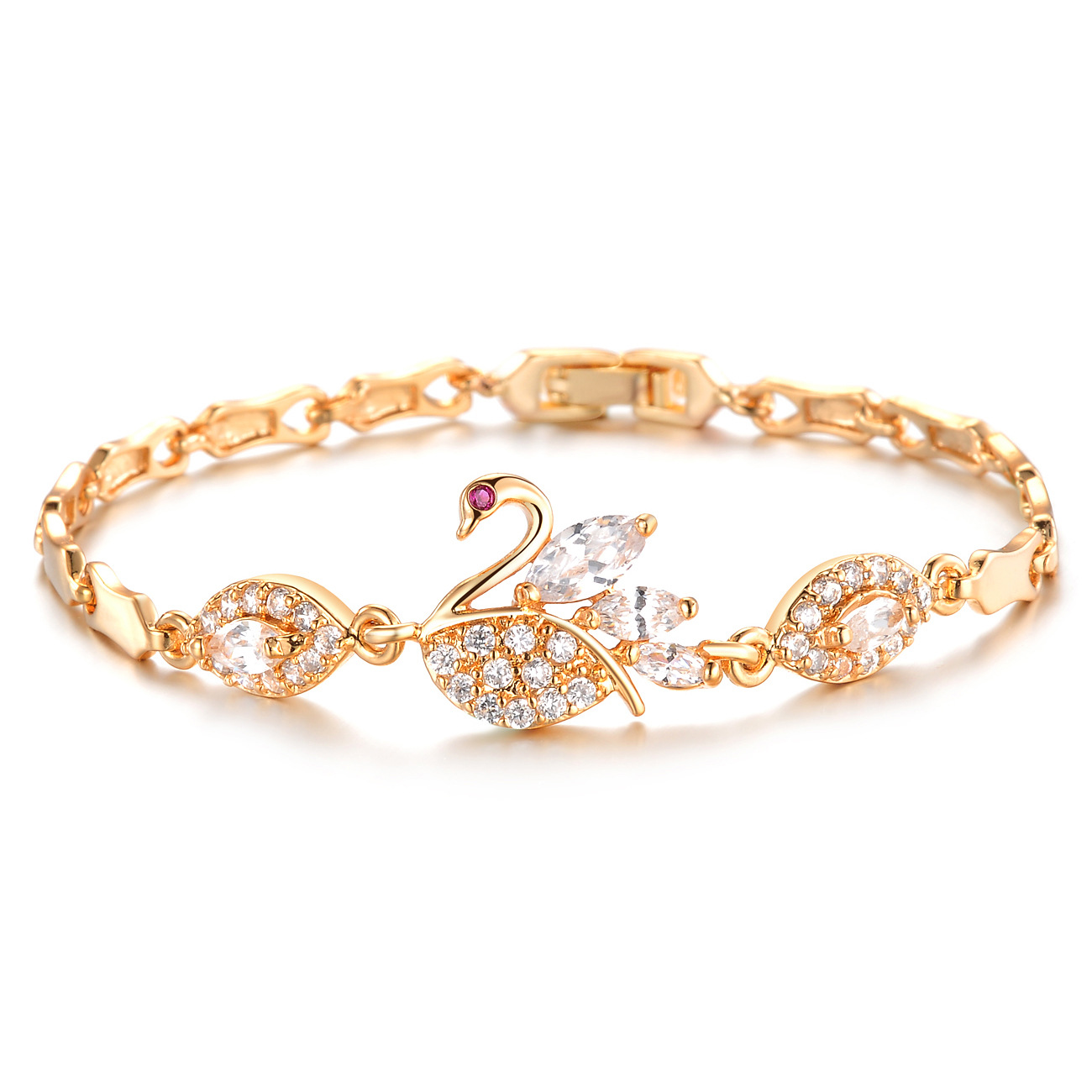 Fashion Swan Women Bracelets Classical Gold color Cubic Zircon Link Chain Jewelry Bracelet