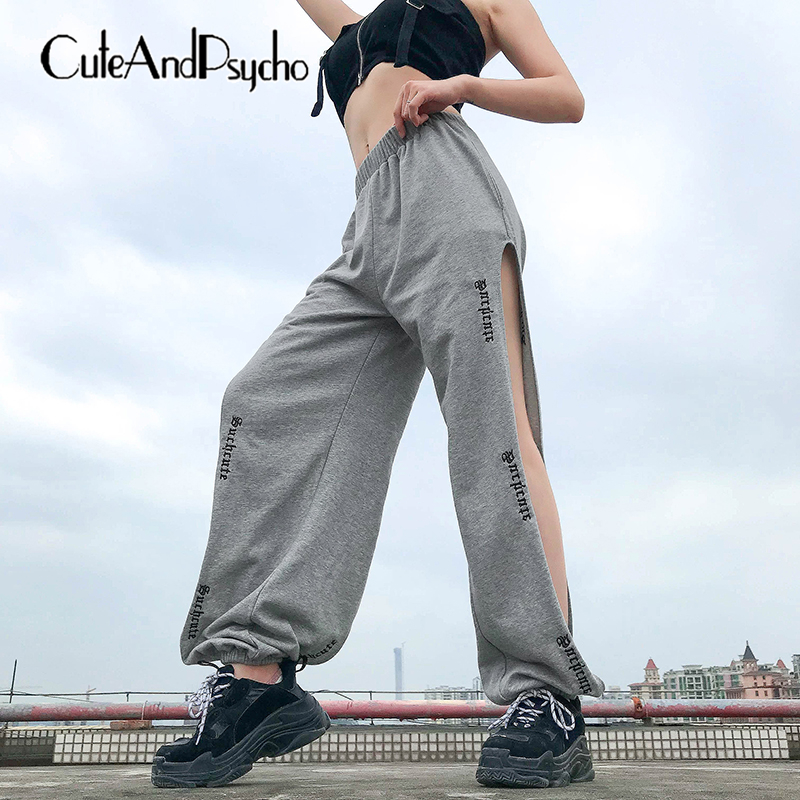 2019 Letter Emboridery Sweat   Pants   Women High Waist Hollow Out Trousers Harajuku Baggy Joggers   Pants     Capris   Summer cuteandpsycho