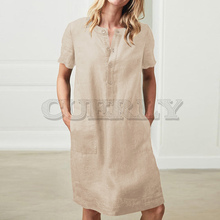 Cuerly Women Linen Cotton Short Sleeve Pocket Midi Dress Button Plus Size Solid Dresses 2019 Summer Vintage Straight Clothes