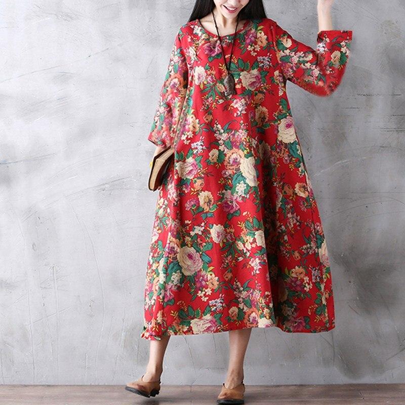 Для женщин платье с цветочным рисунком Лето 2019 г. винтаж плюс размеры печати повседневный кафтан Ретро-платья женский Макси Вечерние большо...