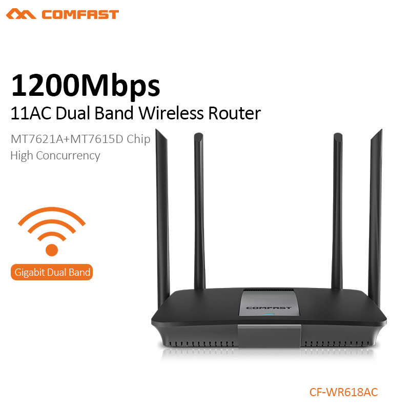 Comfast 1200mbps Wlan WiFi Repeater Wireless 5ghz Wifi Router High Power Wifi Extender 4*6dbi Antenna Wifi Amplifier CF-WR618AC