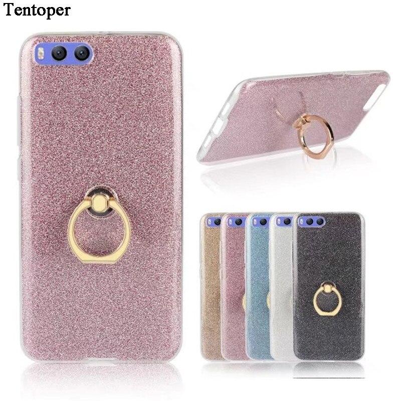 Ring Glitter Bling Hit Color Cover For Xiaomi Mi6 Case Transparent Soft Gel TPU Phone Case