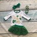 Nuevos bebés de la llegada Bésame ropa niñas Día de San Patricio Del Trébol trajes de los niños top con faldas con accessoreis