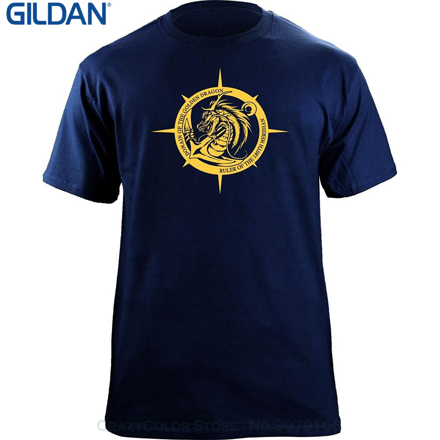 GILDAN Fashion Men Printed T Shirts Original Domain Of The Golden Dragon Navy Veteran T-shirt