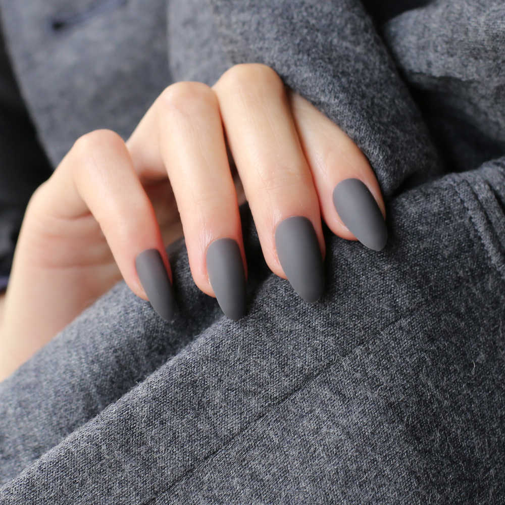 Dark grey Full Nail Tips Comfortable Matte nails Pointed Stiletto end  product long short Designs Pure complete set False nails