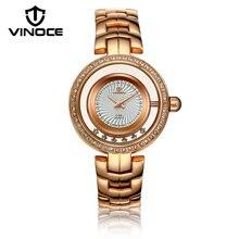 VINOCE Top Brand Luxury Gold Quartz-watch Women Stainless Steel Band Relogio Feminino Fashion Ladies Watches Montre Femme 8377