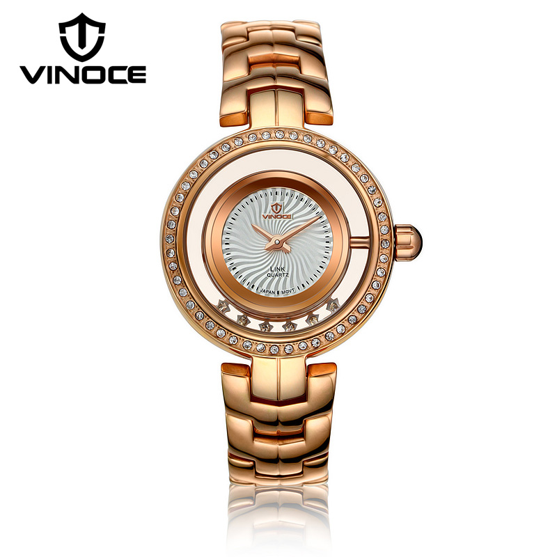 VINOCE Top Brand Luxury Gold Quartz-watch Women Stainless Steel Band Relogio Feminino Fashion Ladies Watches Montre Femme 8377 feitong luxury brand watches for women ladies watch full stainless steel gold mesh band wristwatch wristwatch relogio feminino