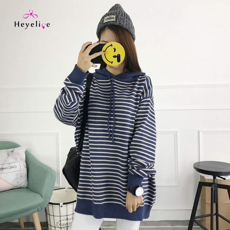 New Mmaternity Dress Sweater Hooded Sweater Pullover Long Sleeve Autumn Tide Fashion Wear Loose Striped Pregnant Hooded Sweaters flouncing loose striped dress