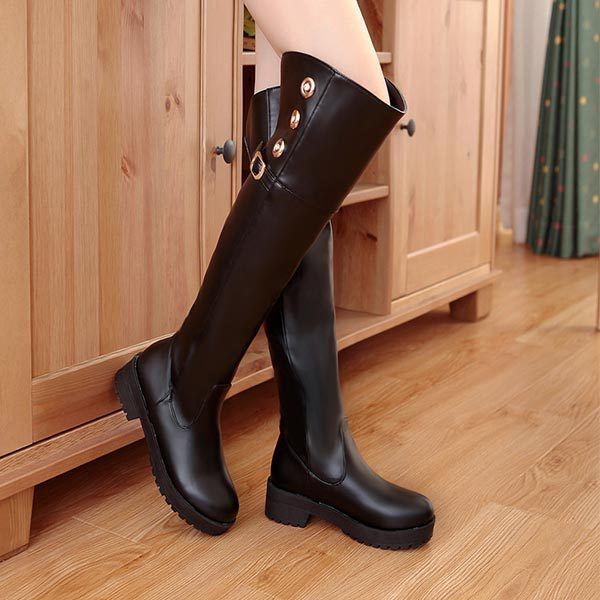 ФОТО C409  Womens Fashion Black Brown Long boots Leather Belt Buckle Low Heels Motorcycle Tall Over The Knee High Horse Riding Boots