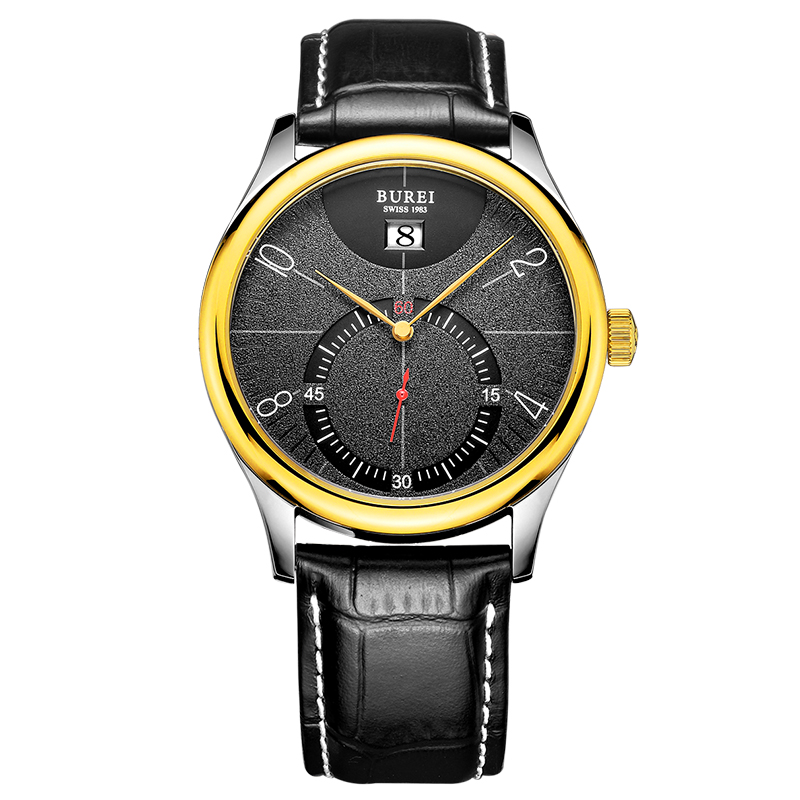 BUREI 3033 Switzerland watches Men's Stainless Steel Watch with Black gold Leather Strap and Black Face relojes full stainless steel men s sprot watch black and white face vx42 movement