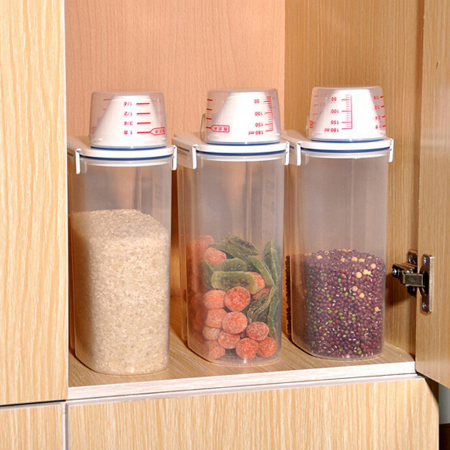 Wonderful Kitchen Containers Plastic Moistureproof Transparent Sealed Crisper Dry  Goods Box Tank With Cup Large Capacity Food