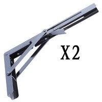 2X Heavy Duty Polished Stainless Folding Shelf Bench Table Shelf Or Bracket 11