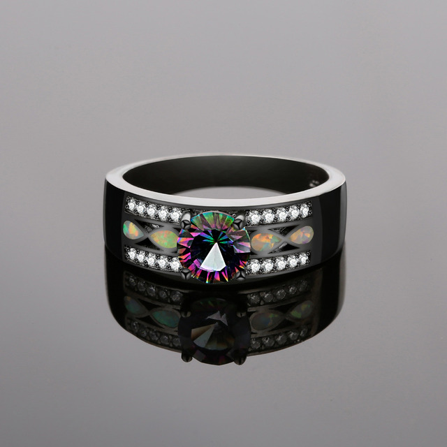 Mystic Quartz Created Opal Band Ring