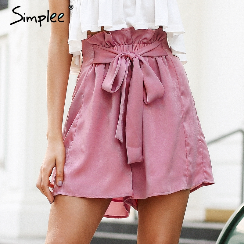 Simplee Satin Ruffle Bow Summer Shorts Women Casual Soft Beach Elastic Waist Shorts 2018 Chic Pink Loose Streetwear Shorts Femme