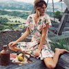 Boho Short Dresses 2017 Rayon Cotton Floral Print Wrap Dress Hippie Summer Dress Short Sleeve Vintage