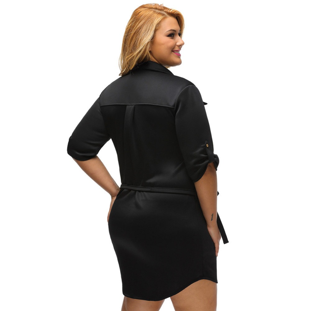 2017 Sexy Women Party Dress Solid Plus Size Belted Textured Shirt ...