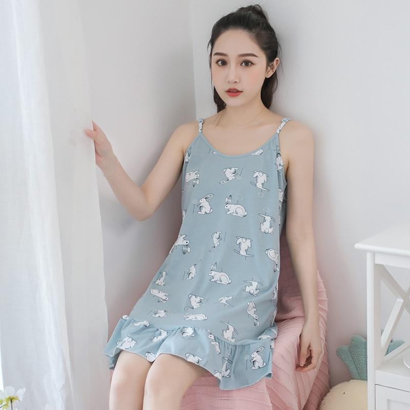 Ladies Sexy Nightdress Cotton round neck Cartoon Sleepwear Lingerie   Nightgowns   Sleeveless Women   Sleepshirt   Plus Size M-XXXL