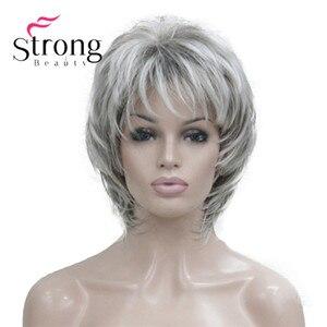 Image 1 - StrongBeauty Ngắn Mềm Lông Lớp Bạc Phối Mũ Lưỡi Trai Cổ Điển Đầy Đủ Tổng Hợp Tóc Giả nữ Tóc Giả Tóc Vàng MÀU SẮC LỰA CHỌN