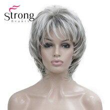 StrongBeauty peluca sintética de color rubio para mujer, peluca corta, suave, peluda, en capas, mezcla de plata, clásica