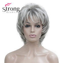 Strongbeauty 짧은 소프트 얽히고 설킨 실버 믹스 클래식 캡 전체 합성 가발 여성의 가발 금발 색상 선택