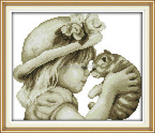 Wholesale Needlework,Stitch,14CT Cross Stitch,Sets For Embroidery Kits,Lovely Girl and Cat Counted Cross-Stitching
