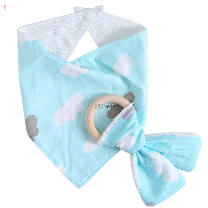 (KLV)Infant Kids Baby Feeding Saliva Towel Dribble Triangle Bandana Bibs Teether Ring APR19_30