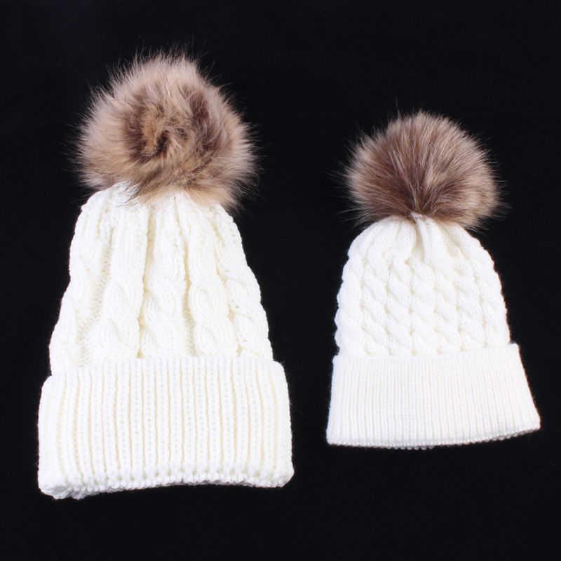 7ab8d1f65d8 2Pcs Mother Kids Child Baby Warm Winter Knit Beanie Fur Pom Hat Crochet Ski  Cap Cute
