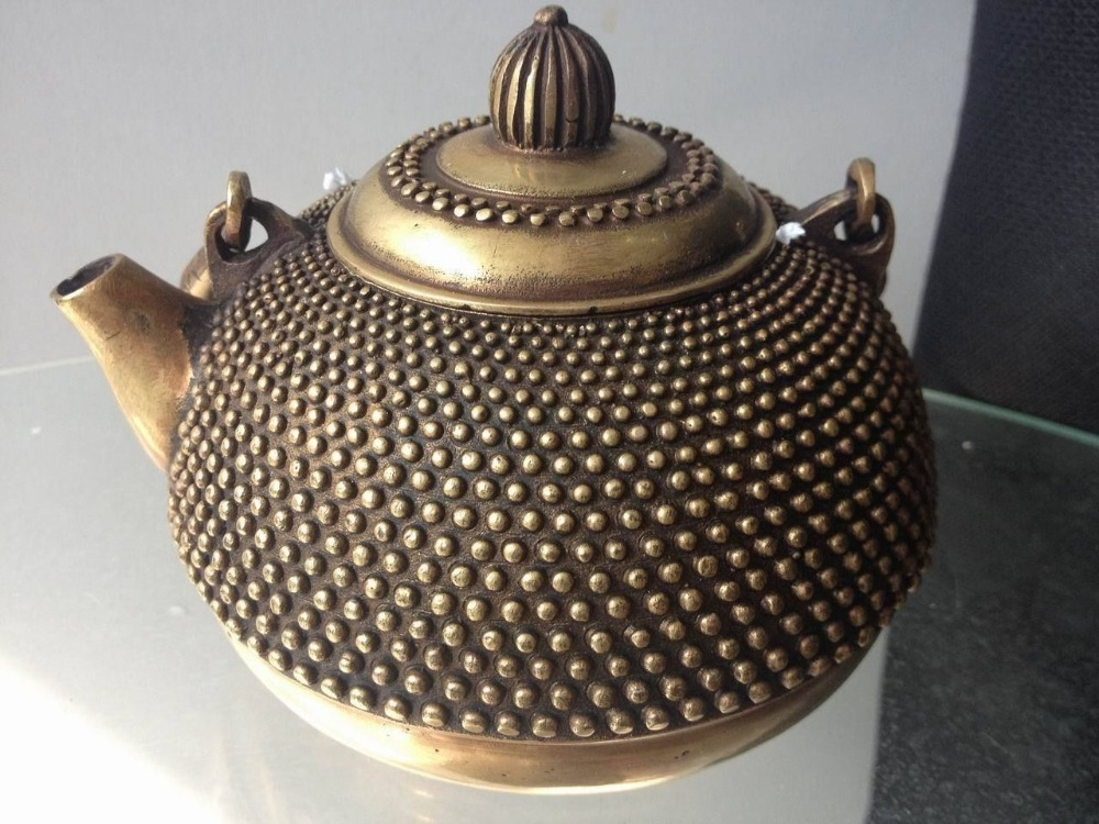 Chinese bronze wine pot teapot carving particle Ming Dynasty old collectibles