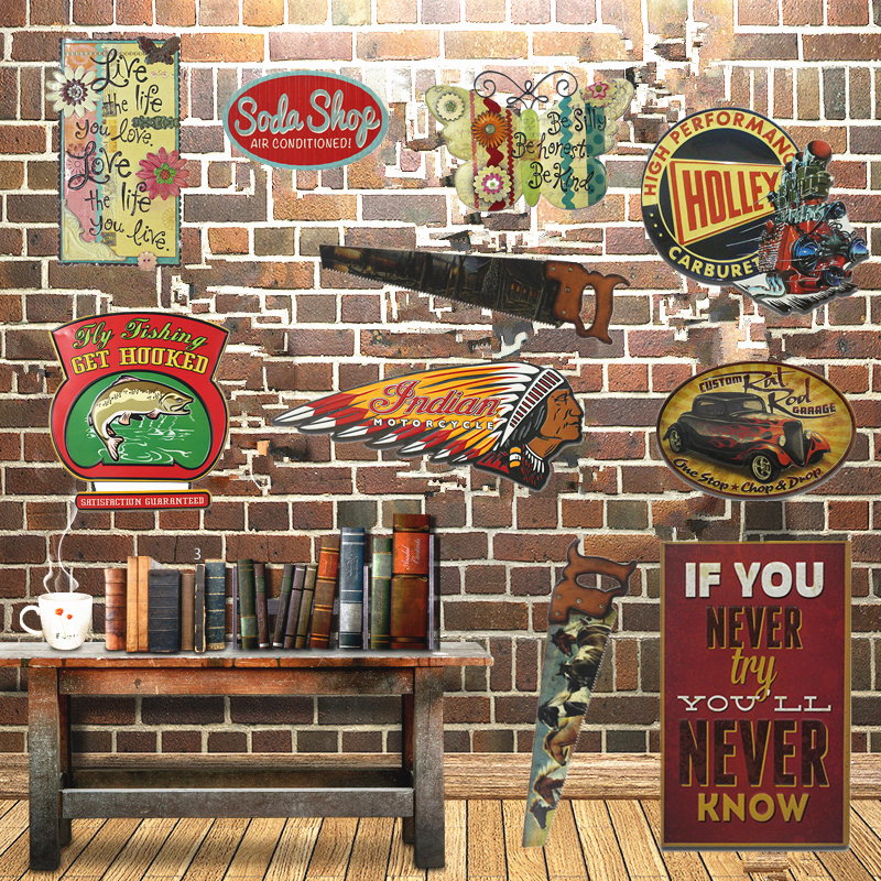 Indian motorcycle metal signs chainsaw saw signs pub bar - Decoration americaine vintage ...