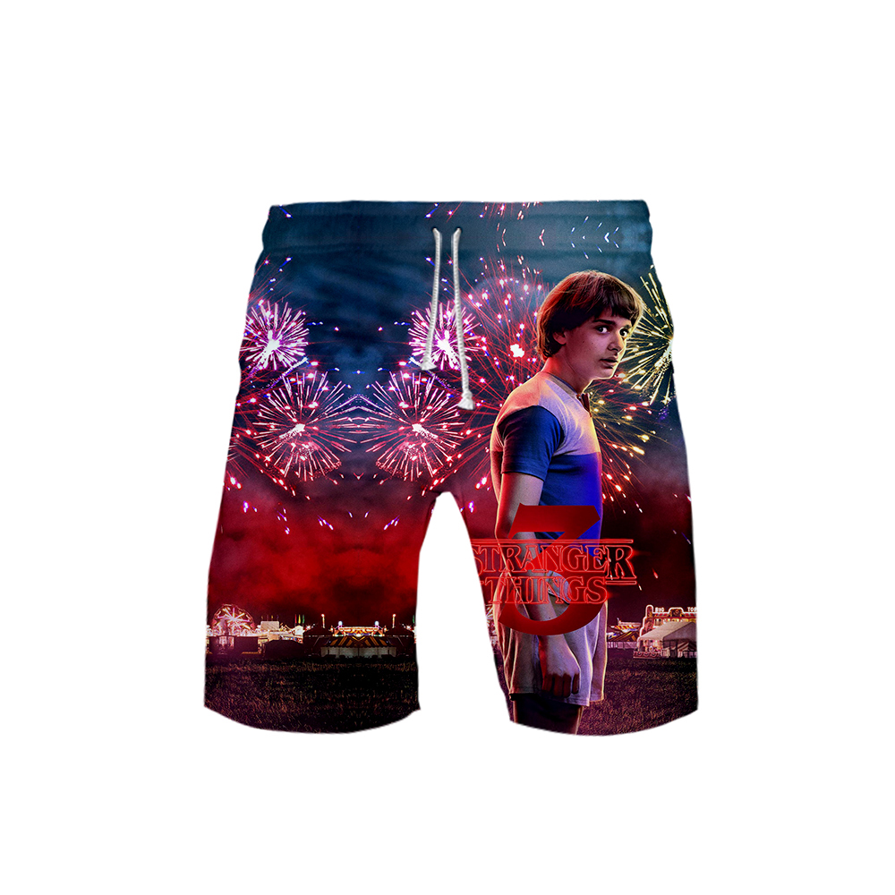 2019 Hot U.S. Drama Stranger Things Season 3 3D Print Beach Board Shorts Casual Men Shorts Boy Wild Breathable Shorts Plus Size
