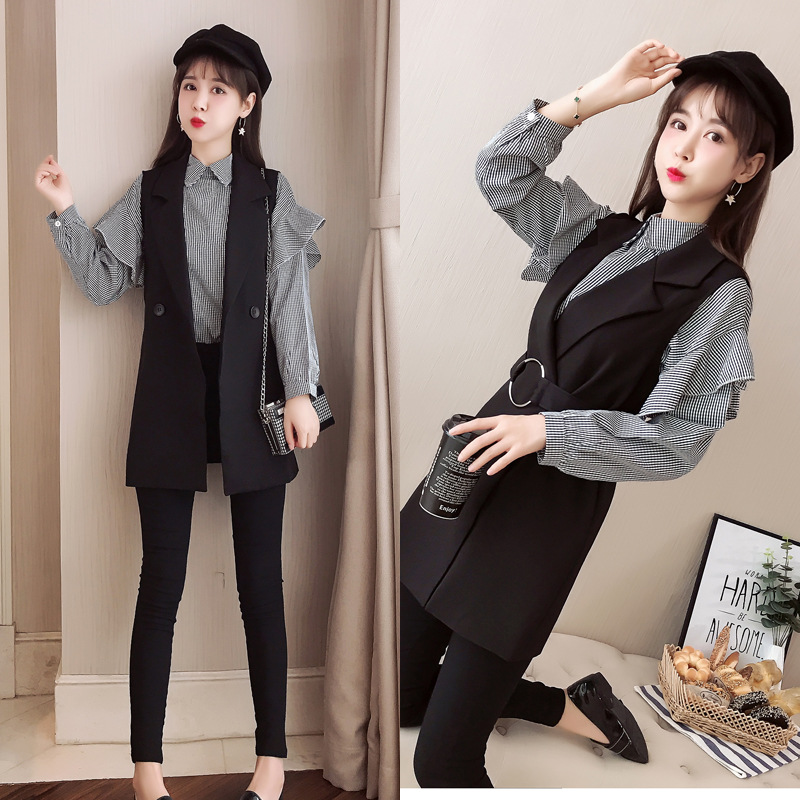 Gagarich 2019 Spring Women Two Piece Set New Fashion Marquee Temperament Fashion Female Plaid Shirt & Black Vest 7