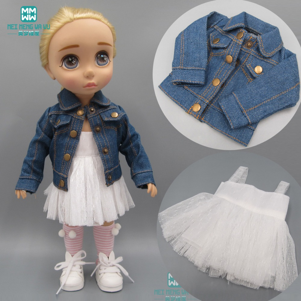 Doll Clothes Fits 40cm Salon Doll Denim Jacket White Skirt