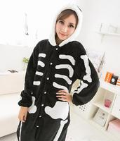 Hurtownie-Hot Sprzedaż Nowy Piękny Tanie Kigurumi Anime Cosplay Costume Piżama Adult Unisex Czarny Czaszki Sukienka Bielizna Nocna Hal