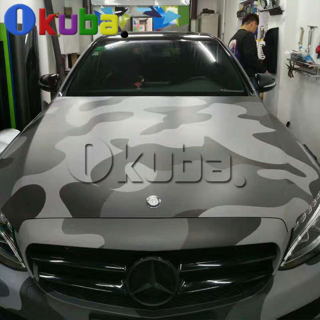Jumbo Black Grey Camouflage Car Wrapping Vinyl With Air