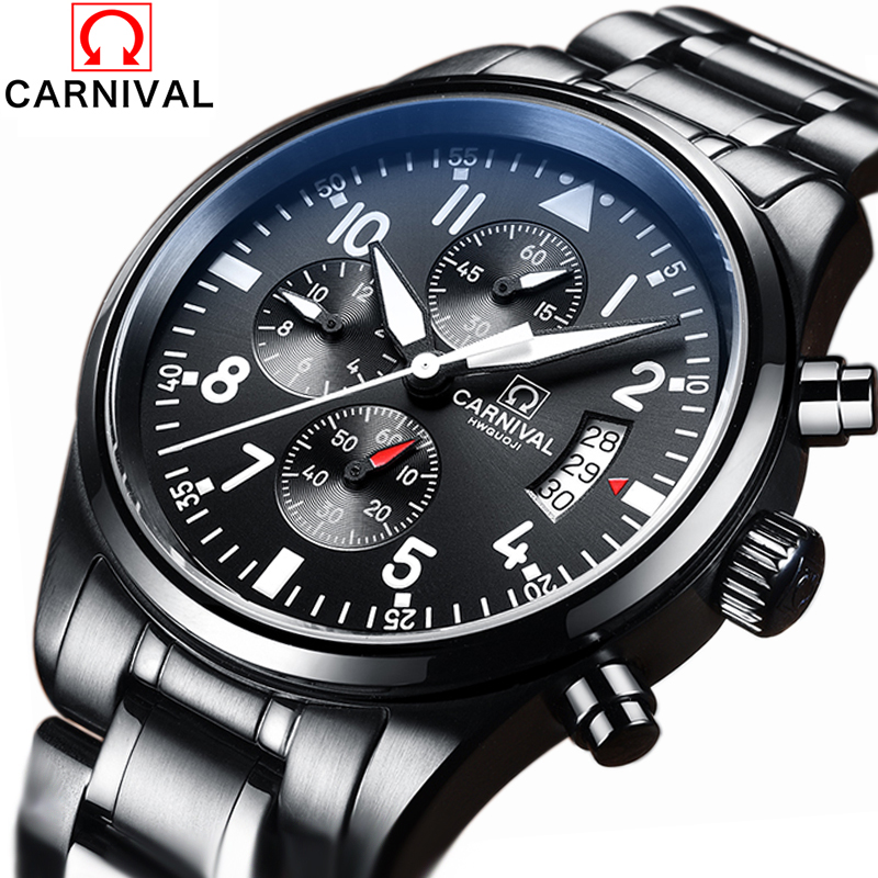 CARNIVAL Luxury Brand Full Stainless Steel Analog Display Date Men's Quartz Watch Business Watch Men Watch relogio masculino yazole luxury brand full stainless steel analog display date men s quartz watch business watch men watch relogio masculino