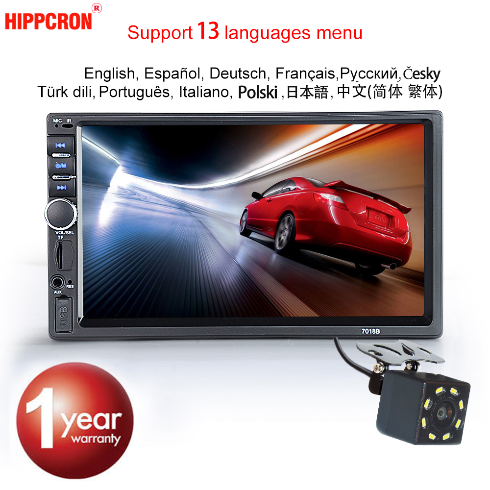 "Hippcron Car Radio MP5 2 Din Bluetooth HD 7"" Touch Screen Stereo 12V FM ISO Power Aux Input SD USB With / Without Camera(China)"