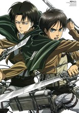 Attack On Titan Anime Eren & Rivaille 54*38CM Wall Scroll Poster #35752 halder japanese cartoon anime animation attack on titan keychains armin arlart rivaille ackerman chatacters trinkets accessories