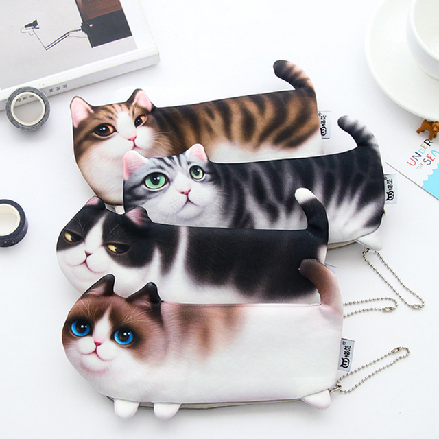 Behogar Kawaii Novelty Cartoon Simulation Cat Pencil Case Pencilcase Pen Box Pouch Bag School Stationery Supplies For Student In Home Office Storage