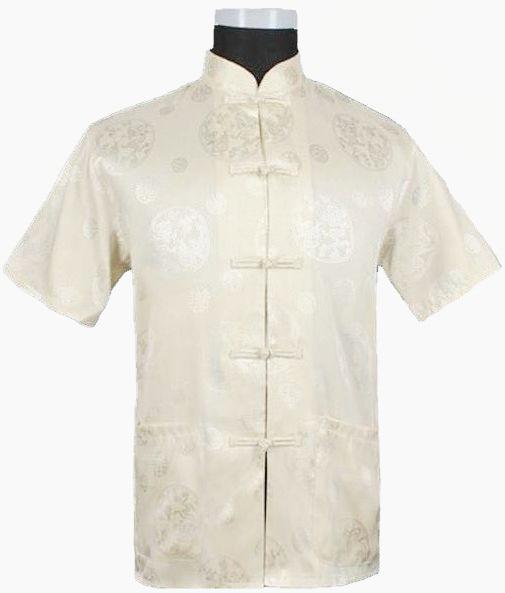 Hot Sale Beige Novelty Hombre Camisa Chinese Men's Shirt Silk Satin Kung Fu Short-sleeve Costume Size S M L XL XXL XXXL M0017