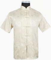 Free Shipping Beige Tradition Chinese Men S Silk Satin Shirt With Pocket Size S M L