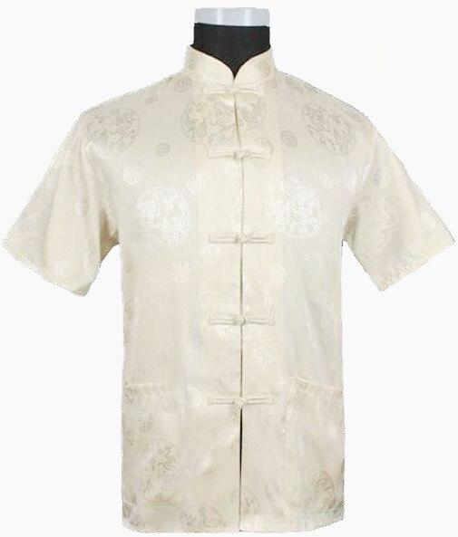 Venda quente bege novidade Hombre Camisa dos homens chineses de cetim de seda Kung Fu traje de manga curta tamanho ml XL XXL XXXL M0017
